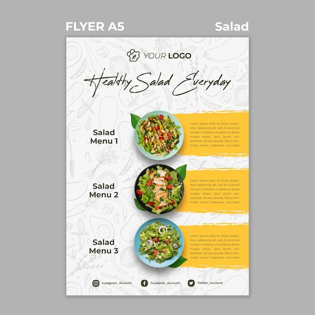 Flyer template for healthy salad lunch Free Psd