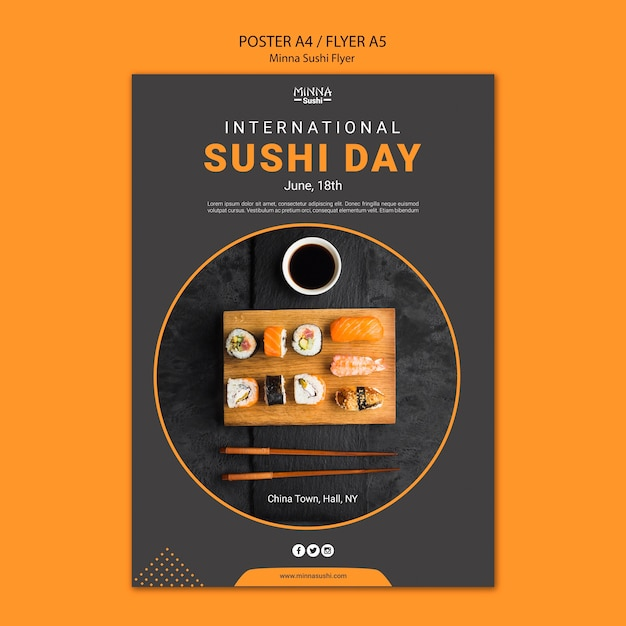 Flyer template for international sushi day Free Psd