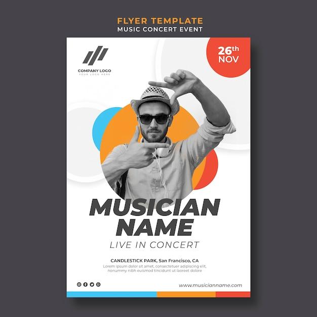 Flyer template for live concert Premium Psd