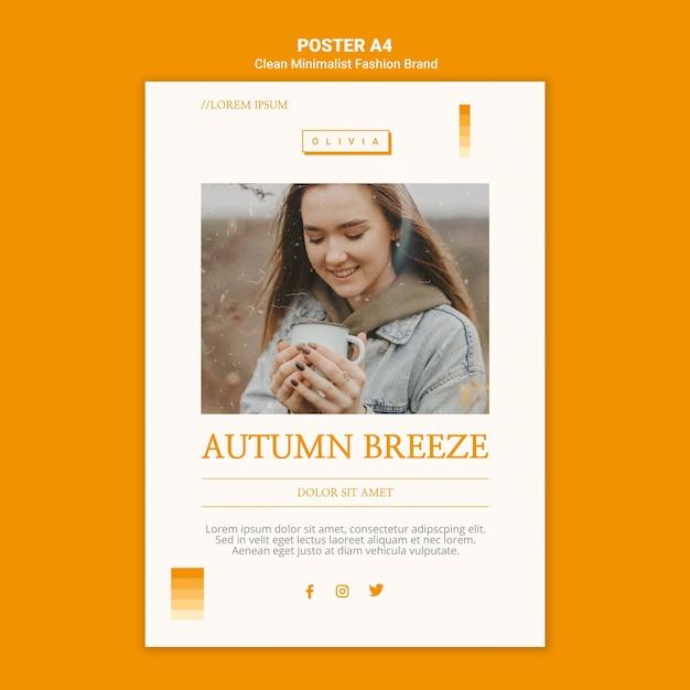 Flyer template for minimalist autumn fashion brand Free Psd