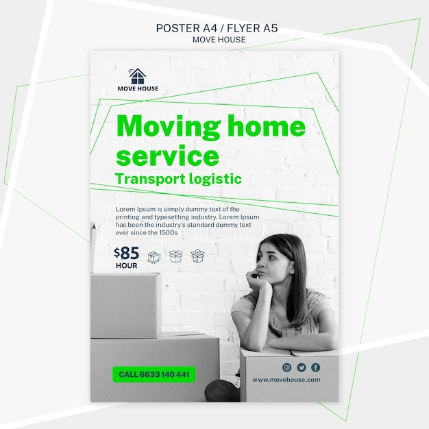 Flyer template for moving service Free Psd