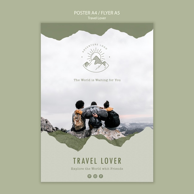 Flyer template for outdoors traveling Free Psd