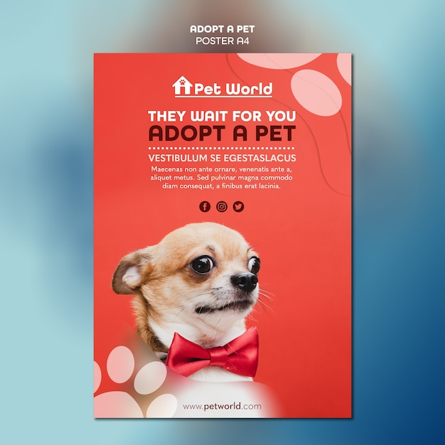 Flyer template for pet adoption with dog Free Psd