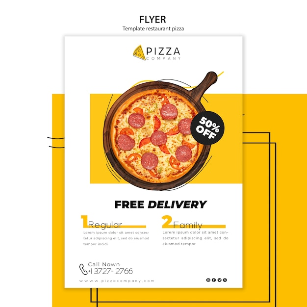 Flyer template for pizza restaurant Free Psd