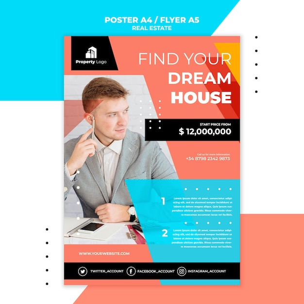 Flyer template for real estate company Free Psd