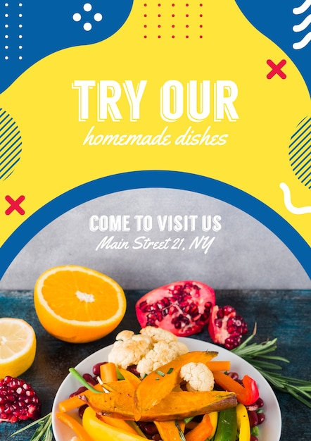 Flyer template for restaurant in memphis style Free Psd
