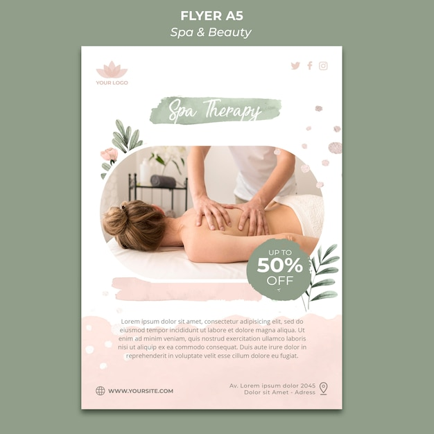 Flyer template for spa and relaxation Free Psd