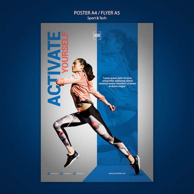 Flyer templatefor sport and tech Free Psd