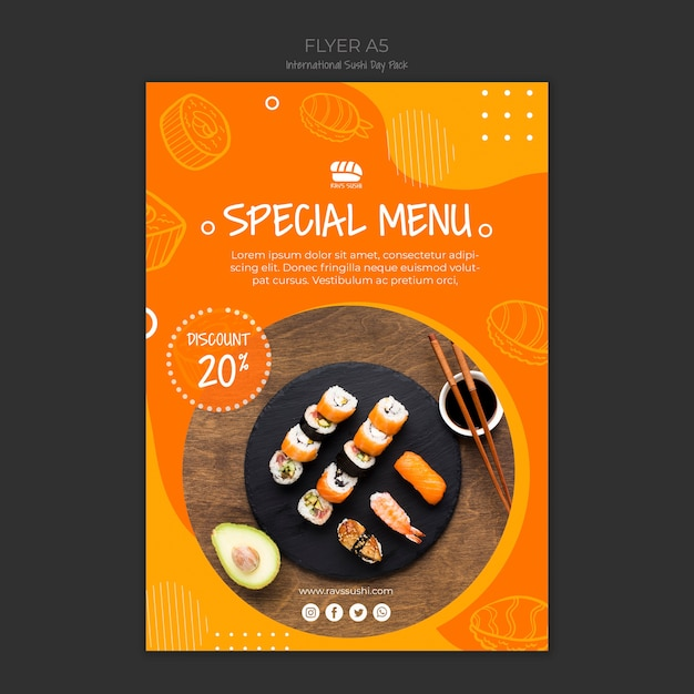 Flyer template for sushi restaurant Free Psd