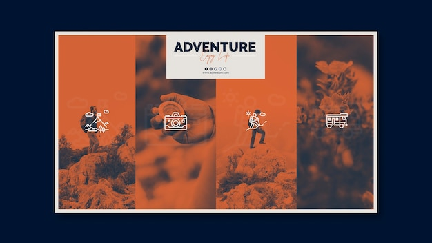 Flyer template with adventure concept Free Psd