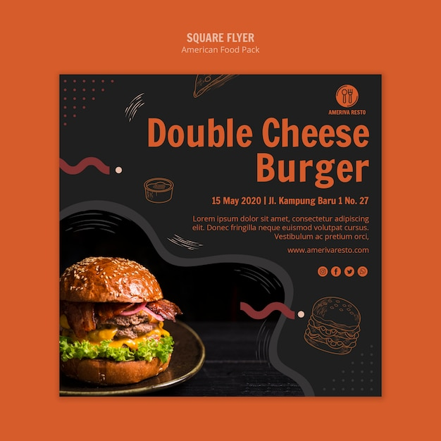 Flyer template with american food design Free Psd