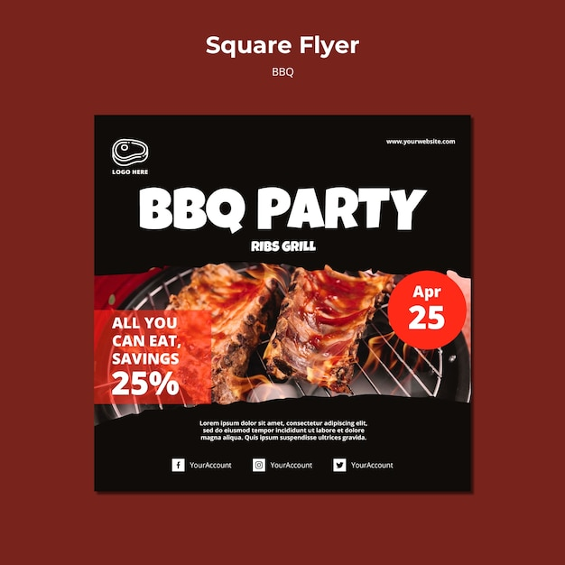 Flyer template with barbeque concept Free Psd