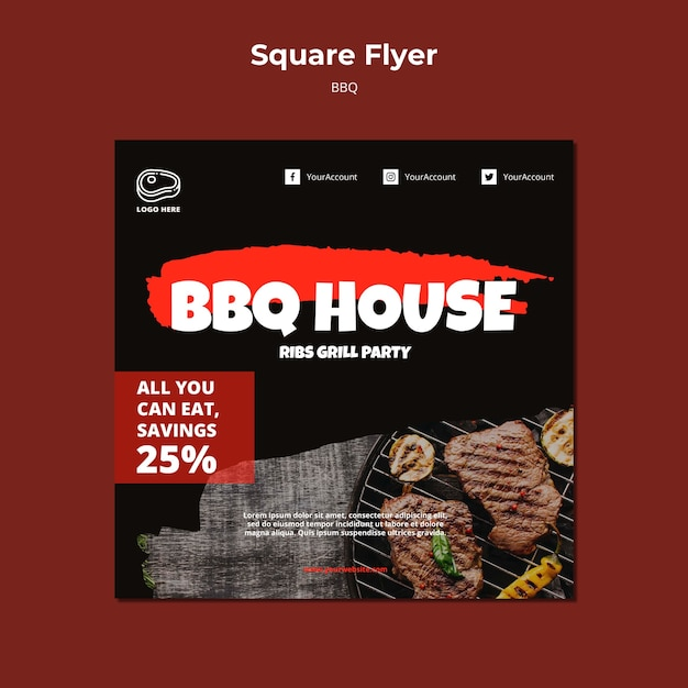 Flyer template with barbeque design Free Psd