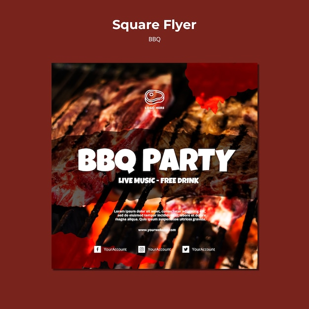 Flyer template with barbeque template Free Psd
