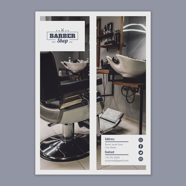 Flyer template with barber concept Free Psd