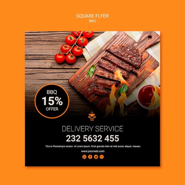 Шаблон флаера с дизайном барбекю Бесплатные Psd
