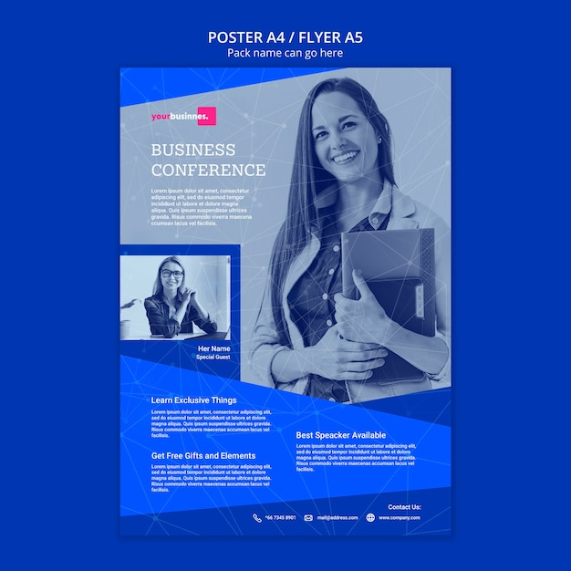 Flyer template with business woman Free Psd