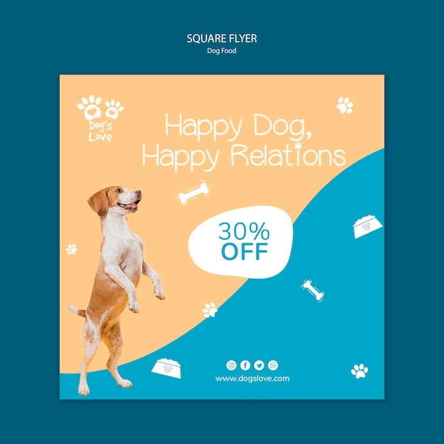 Flyer template with dog food Free Psd