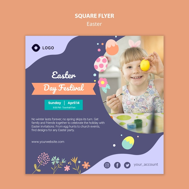 Flyer template with easter day design Free Psd