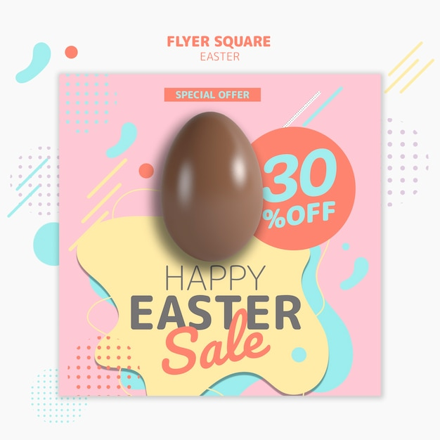 Flyer template with easter day sale concept Free Psd