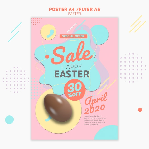 Flyer template with easter day sale design Free Psd