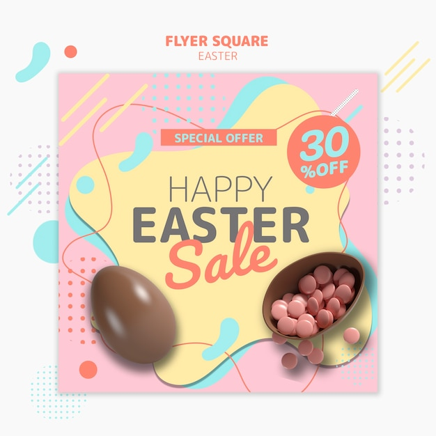 Flyer template with easter day sale Free Psd