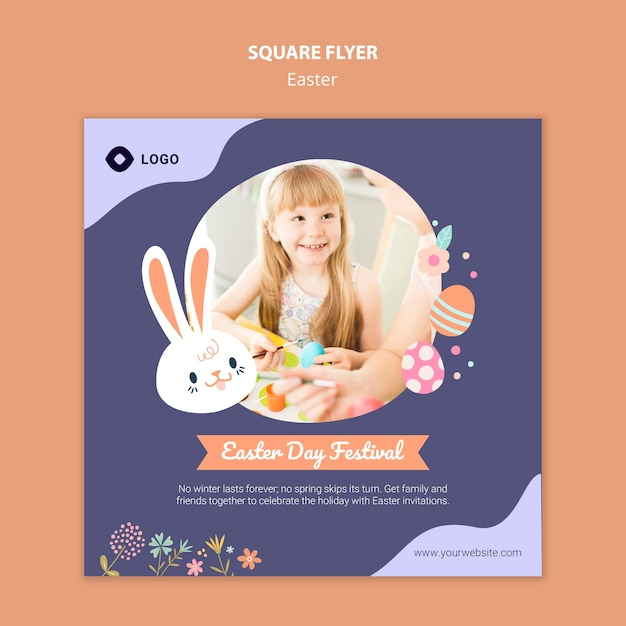 Flyer template with easter day theme Free Psd
