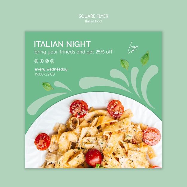 イタリア料理のチラシテンプレート 無料 Psd