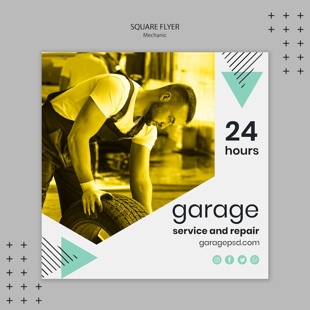 Flyer template with mechanic concept Free Psd