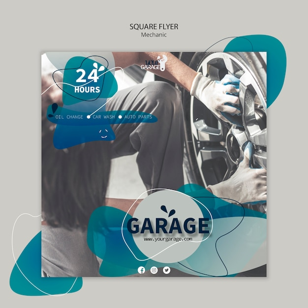 Flyer template with mechanic design Free Psd