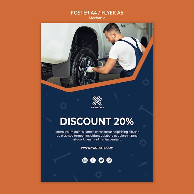 Flyer template with mechanic repairing car Free Psd