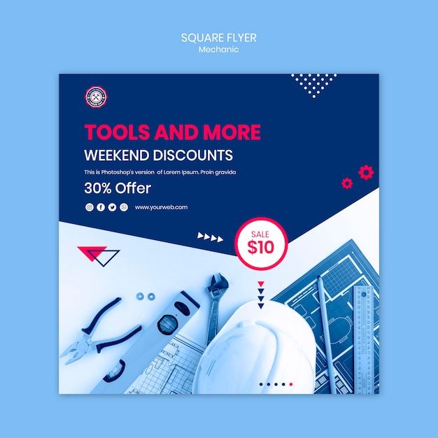 Flyer template with mechanic theme Free Psd