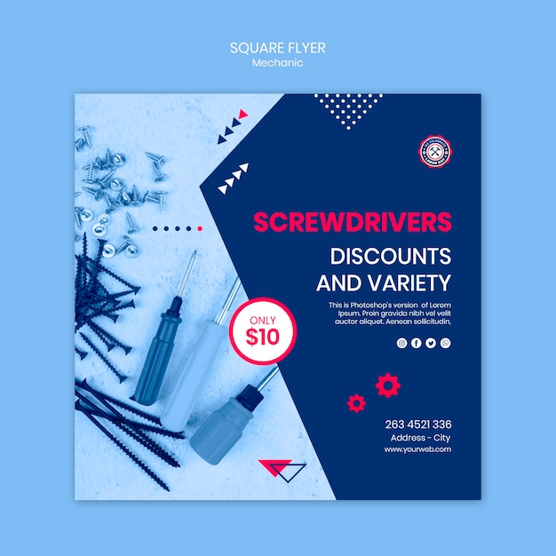 Flyer template with mechanic Free Psd