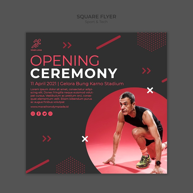 Flyer template withsport and tech concept Free Psd