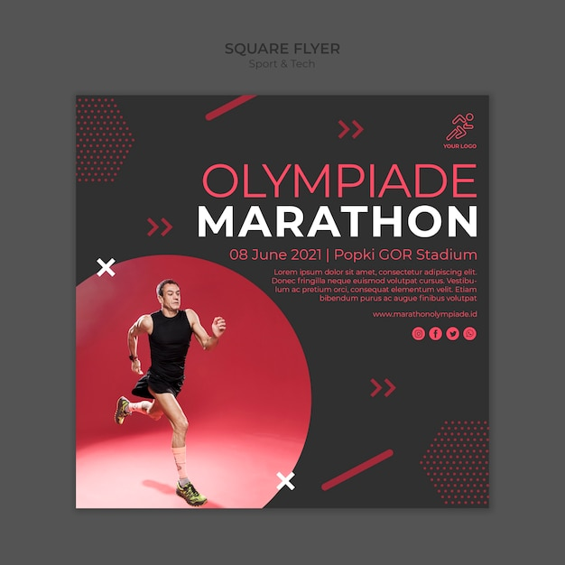 Flyer template withsport and tech theme Free Psd