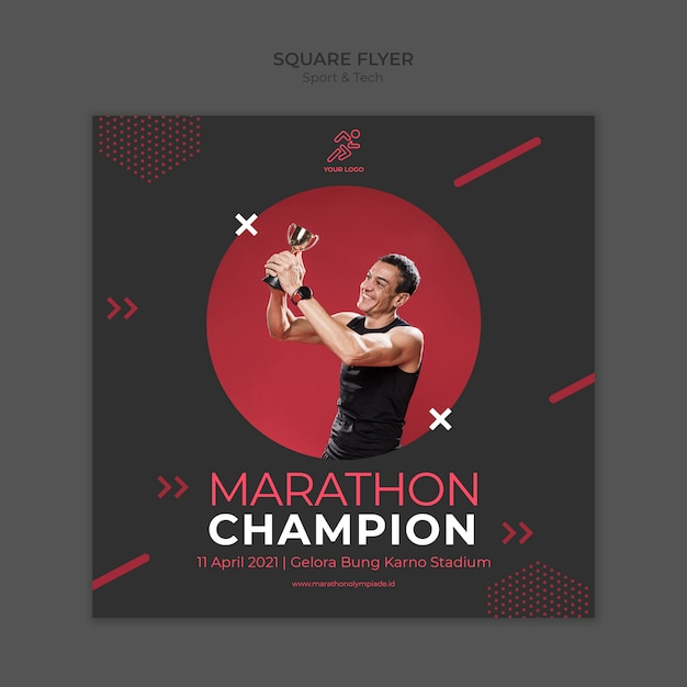 Flyer template withsport and tech Free Psd