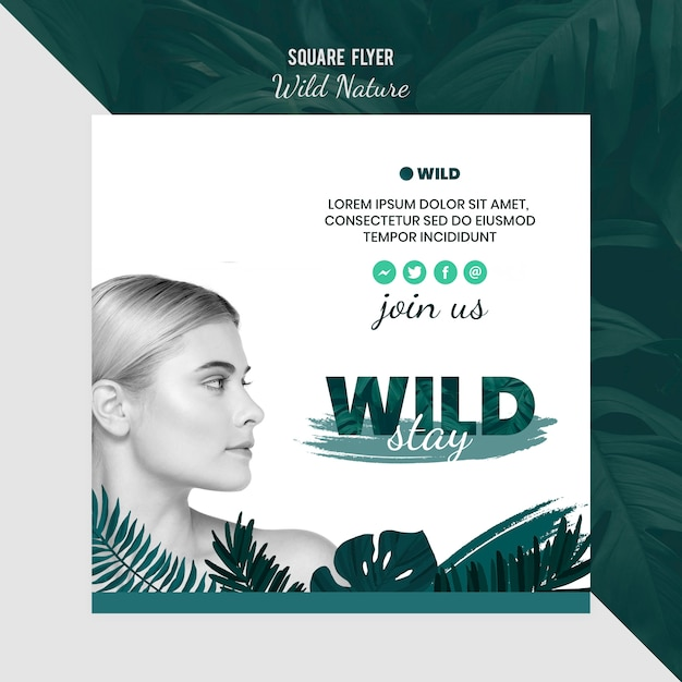 Flyer template with wild nature concept Free Psd