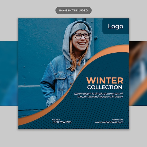 Flyer template with winter sale template Premium Psd