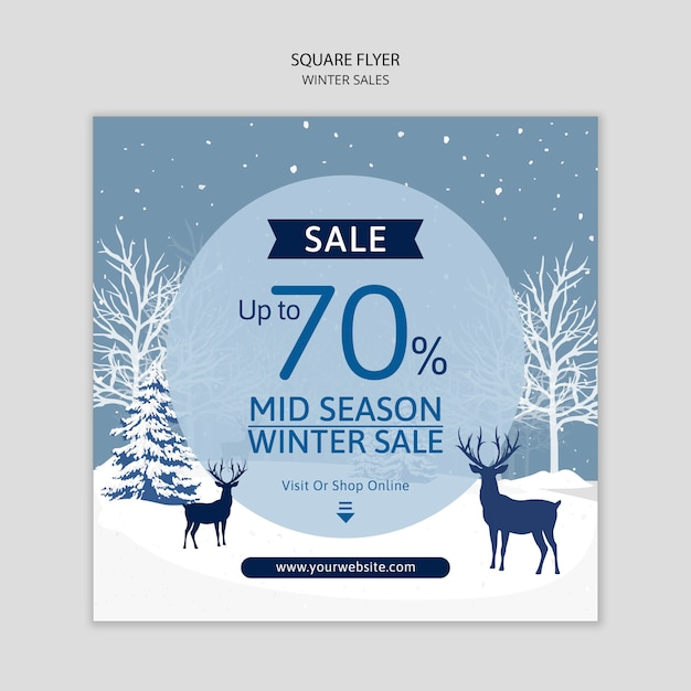 Flyer template with winter sales Free Psd