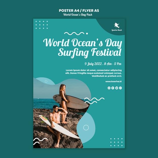 Флаер шаблон с концепцией всемирного дня океанов Бесплатные Psd
