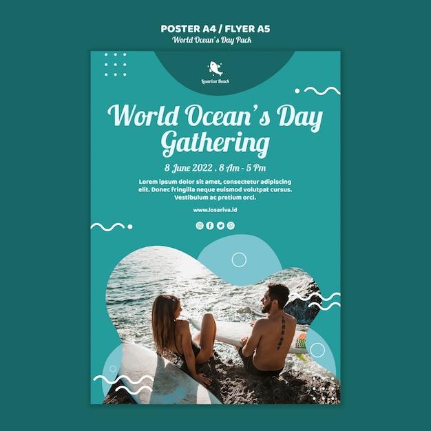 Флаер шаблон с всемирным днем океанов Бесплатные Psd