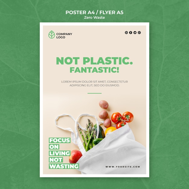 Flyer template for zero waste Free Psd