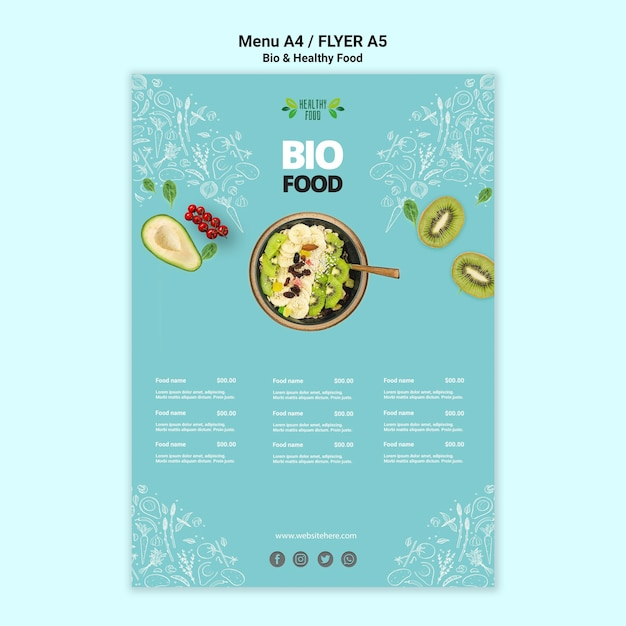 Flyer with healthy and bio food template Free Psd
