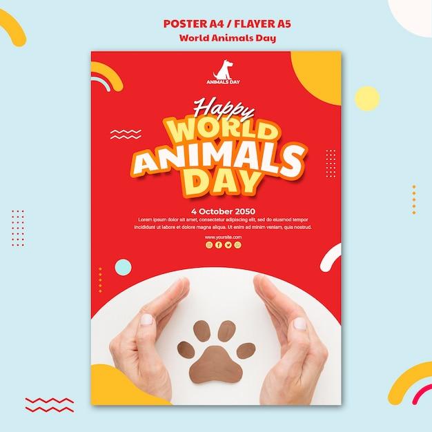 Шаблон флаера всемирный день животных Бесплатные Psd