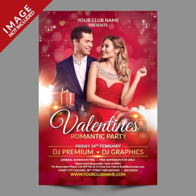 Валентина романтическая вечеринка flyer премиум шаблон Premium Psd