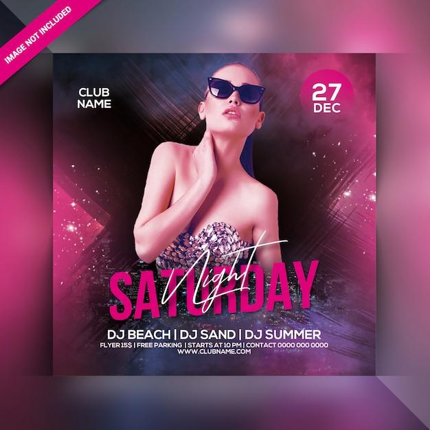 Субботняя вечеринка flyer Premium Psd