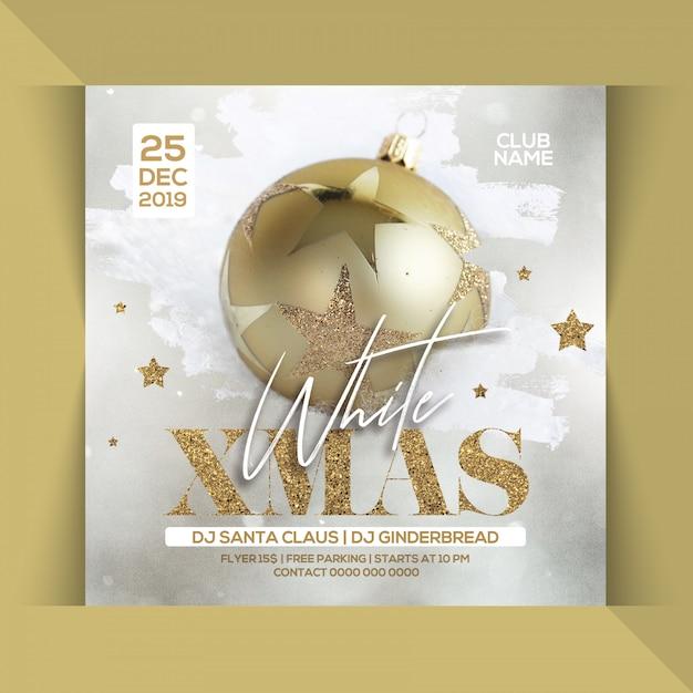 Белая рождественская вечеринка flyer Premium Psd