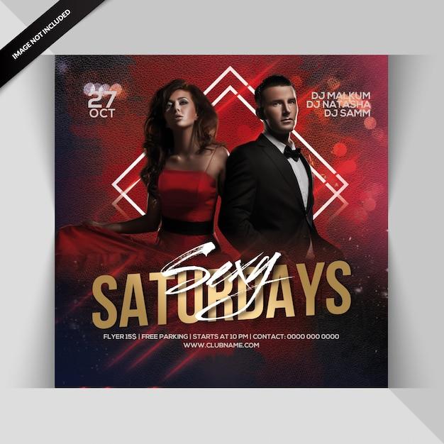 Сексуальная субботняя вечеринка flyer Premium Psd