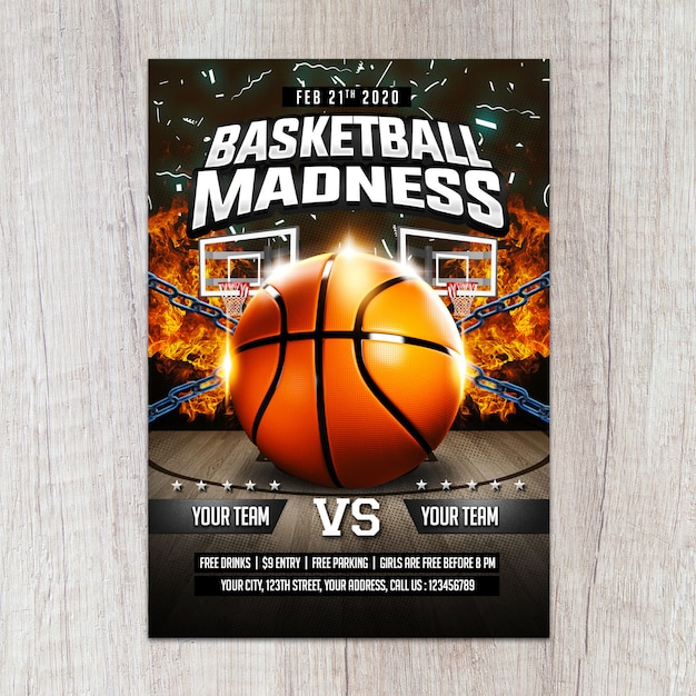 Шаблон flyer баскетбол безумие Premium Psd