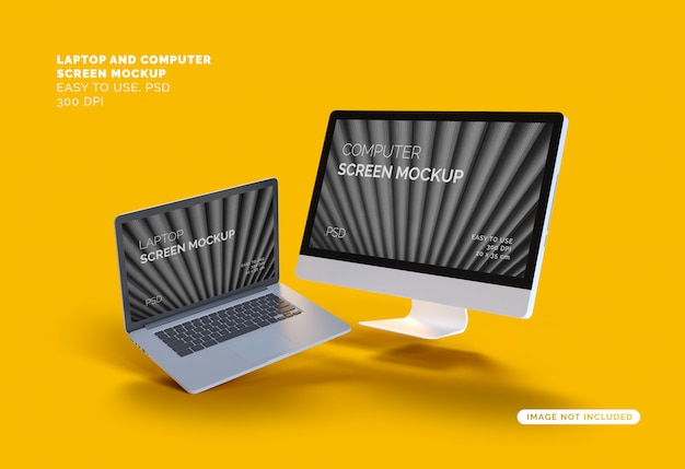 Летающий компьютер и экран ноутбука макет Premium Psd